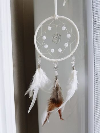 Hanging Indoors  Close-up No People Curtain Day Dreamcatcher WhiteCollection Angel Wings Cubic Zirconia