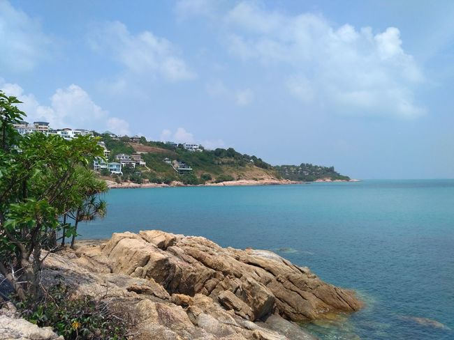 Ko Samui, Thailand Water Sea Sky Cloud - Sky Land Beach Tranquility Beauty In Nature Nature Rock Tree Tranquil Scene Island Sand Beauty In Nature Archipelago Vacations Trip Adventure Travel Destinations Horizon Over Water Sea View Horizon Landscape Tranquility