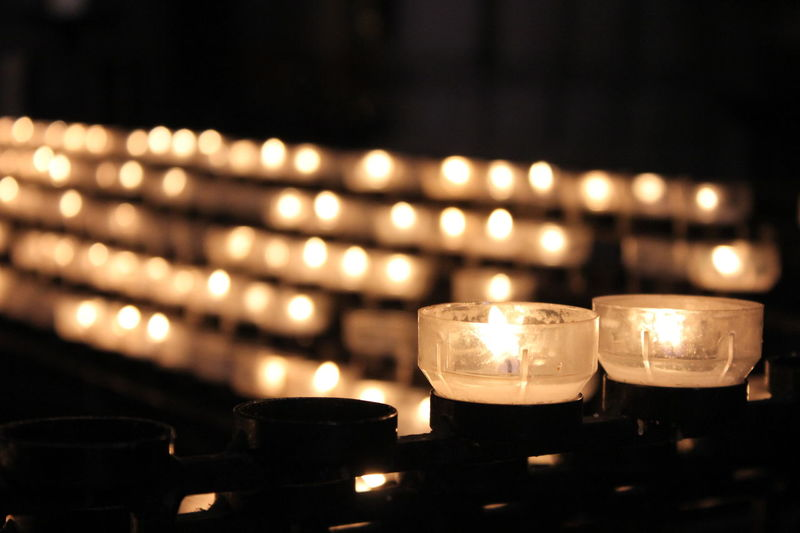 Burning Candle Candle Cathedral Church Illuminated Indoors  Light Prayer Candles Focus Object