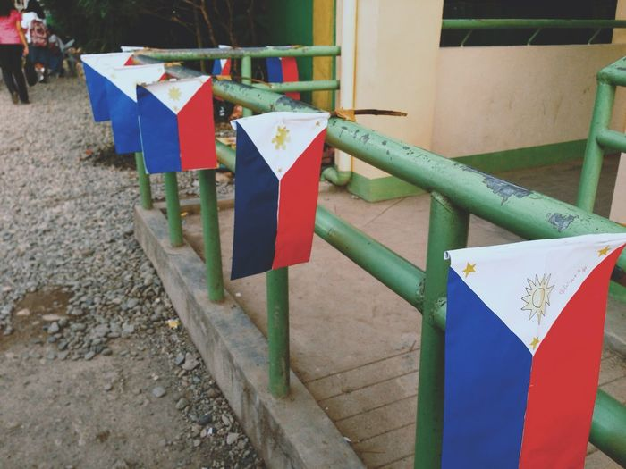 Kalayaan 2018! Philippines Day Multi Colored Railing Red No People Architecture Hanging Flag Outdoors Emotion Barrier Nature Boundary Built Structure Fence Safety Decoration Wood - Material Celebration 10