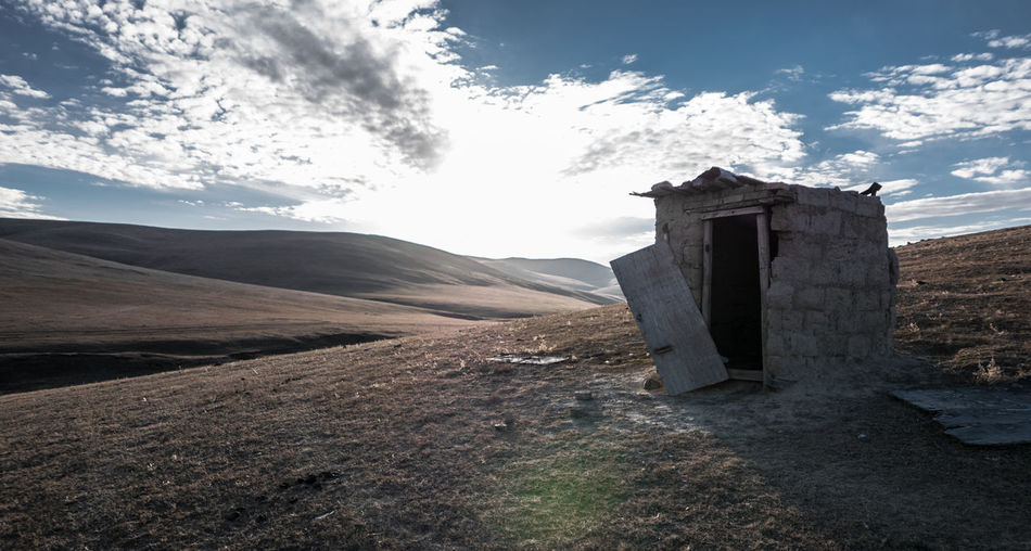 Bricks Broken Door Cloud Day Hills Landscape Mongolia No People Outdoors Riding Sky Steppe Toilet Trail Lumix Lx100 Lost In The Landscape