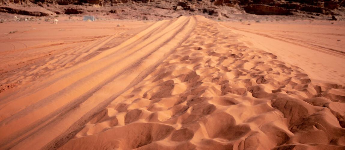 Scenic view of desert land during winter
