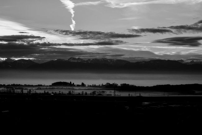 Beauty In Nature Black & White Black And White Blackandwhite Cloud - Sky Good Morning! Mountain Nature No People Outdoors Panorama Scenics Sky Switzerland Tranquil Scene Tranquility
