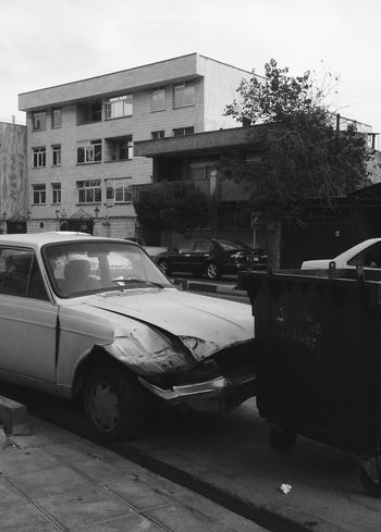Abandoned Blackandwhite Car Destruction IPhoneography Obsolete Parking Ruined Street Landscapes With WhiteWall Here Belongs To Me