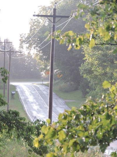 After The Storm Full Frame Shot Sunlit Wet Roads