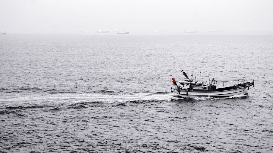 High angle view of trawler in sea