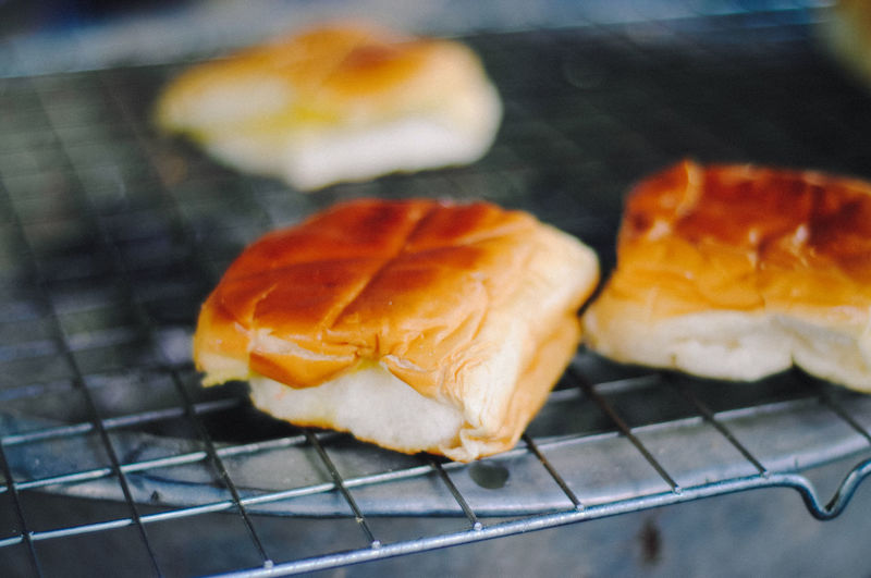 Close-Up Of Bread On Barbecue Grill