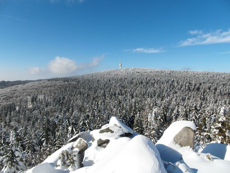 Snow ❄ Snow Mountain Mountains Fichtelgebirge Schneeberg Schnee Winter Cold Temperature Oberfranken Nature Sky Beauty In Nature Tranquil Scene Scenics Tranquility Landscape No People Blue Sky Tower Outdoors Day Upper Franconia Wald Forest