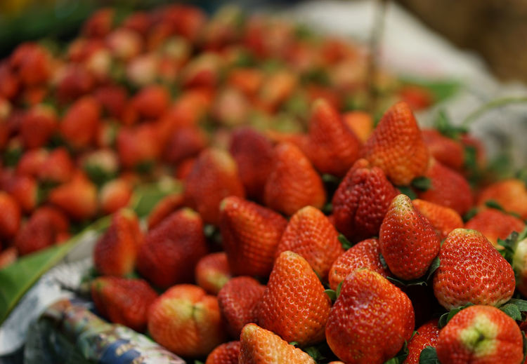 Close-up of strawberries for sale in market