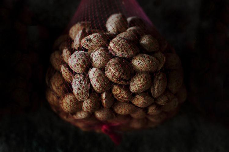 Horizontal Nuts SPAIN Black Background Close-up Freshness Indoors  Organic Almonds