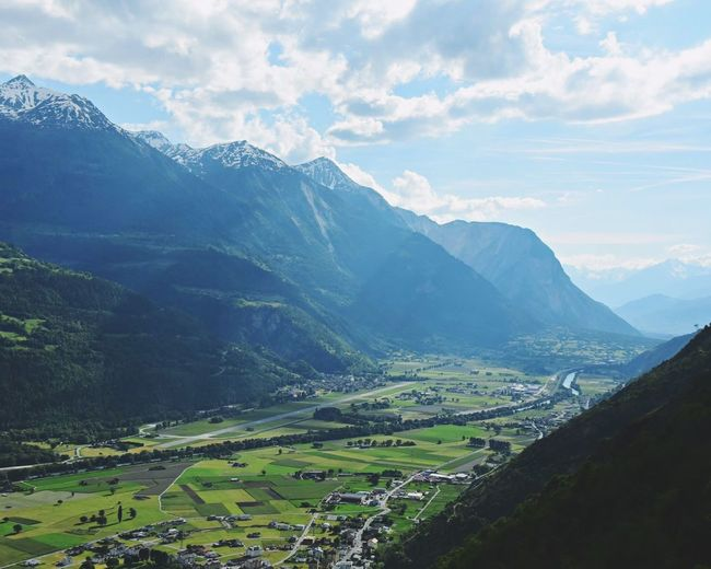Mountain Mountain Range Landscape Scenics Nature Sky Green Color Cloud - Sky No People Grass Outdoors Beauty In Nature Day Winding Road Travel Switzerland