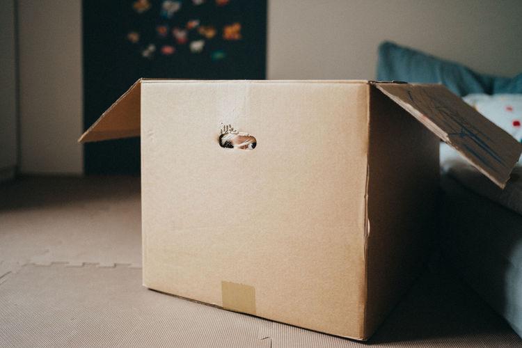 High angle view of box on table