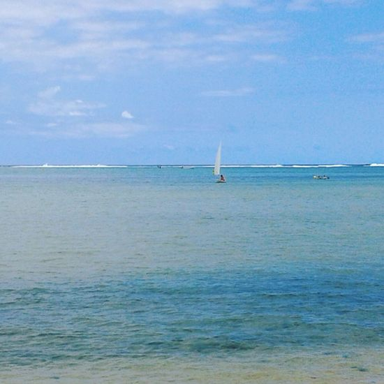 EyeEmNewHere Beauty In Nature Sea And Sky Seascape Sky Collection Seaside Mauritius Mauritius Island  Good Morning Sailing Sea Ocean Ocean View Flic En Flac Maurice Waterdrops Beachphotography