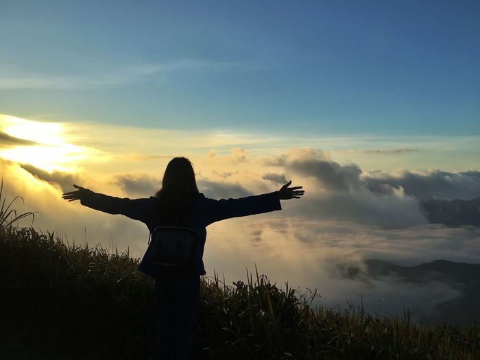 Morningtime Silhouette Journey Travel Mountain Puchifa Sky Human Arm Sunset Arms Outstretched Silhouette Cloud - Sky Nature Real People Beauty In Nature Outdoors Lifestyles