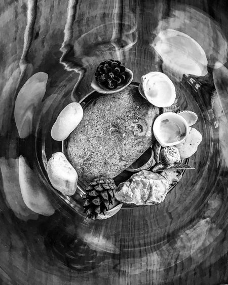 Black & White Beach Stones Blackandwhite High Angle View Table Indoors  Directly Above Plate Food Bowl Freshness Breakfast Healthy Eating Day Close-up Nature No People Ready-to-eat