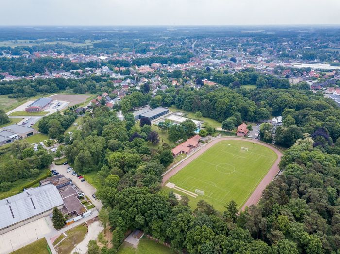 High angle view of outdoor football field in city
