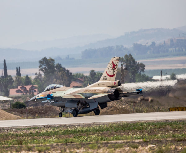Air Vehicle Aviation Blue Sky Day F-16 Fighting Falcon Flight General Dynamics IAF Israeli Air Force Military Outdoors Runway Taxiing