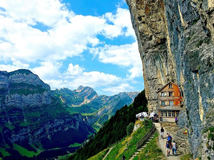 Mountain Nature Built Structure Beauty In Nature Architecture Day Mountain Range Sky Building Exterior Scenics Tranquility Tranquil Scene Outdoors Tree Cloud - Sky Adventure Travel Destinations Landscape Real People Aescher Schweiz 🇨🇭, Schweiz Schweizer Alpen Schweiz Alter Schweiz Aussicht