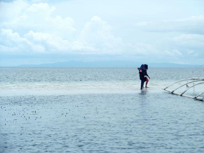 Bohol, Philippines Water Sea Full Length Beach Sky Horizon Over Water Cloud - Sky