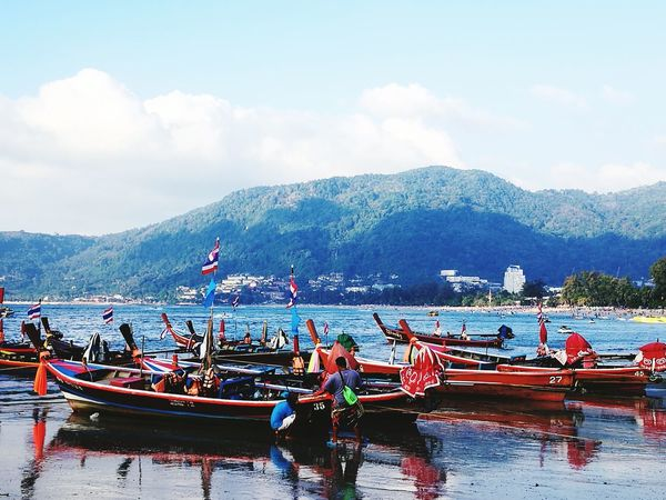 #phuket #boats #beachlife #Phuket Nautical Vessel Mountain Water Transportation Mode Of Transport Sky Moored