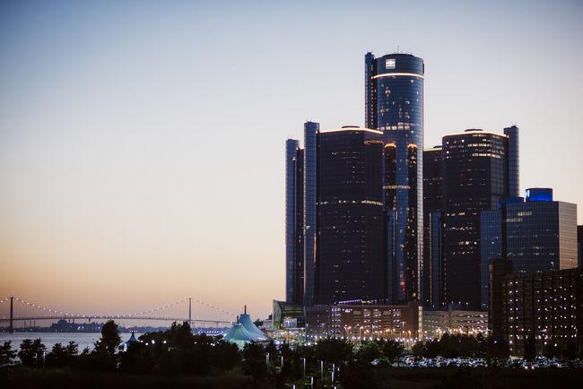Ambassador Bridge City City At Night Detroit Skyline Buildings Detroit Riverfront Detroit Skyline Renaissance Center