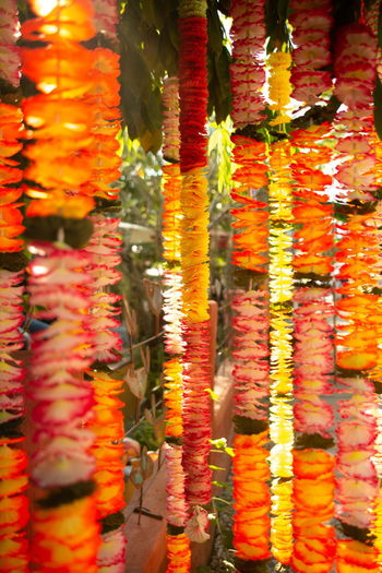 floral garland dress the home Multi Colored Full Frame Hanging Large Group Of Objects Place Of Worship Backgrounds Close-up Retail  Day For Sale Religion Market Spirituality Belief Choice Retail Display Floral Garland Beautiful Fresh Color