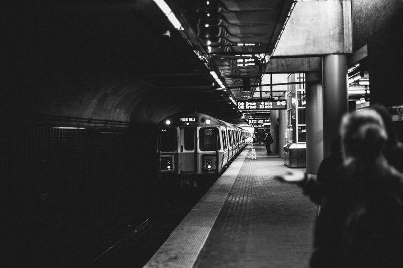 Transportation Train - Vehicle Public Transportation Rail Transportation Railroad Station Platform Mode Of Transport Railroad Station Passenger Train Journey Travel Subway Train Railroad Track Real People Indoors  Commuter Train Lifestyles Men Illuminated Women One Person