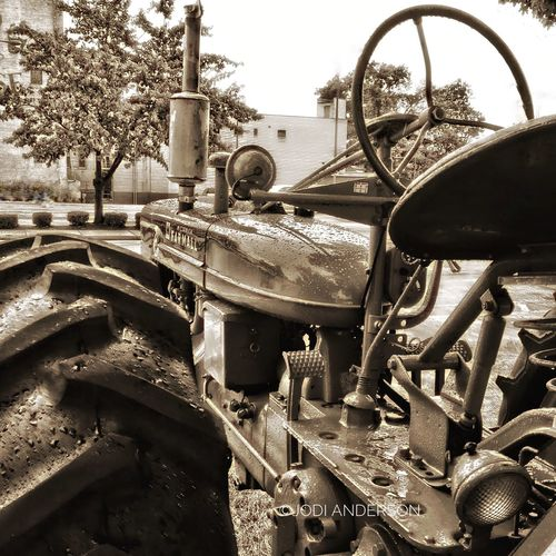 McCormic Farmall Tractor Antique Raindrops Sepia Sepia_collection Farm Life Restoration Tractor Tire Close-up Steering Wheel