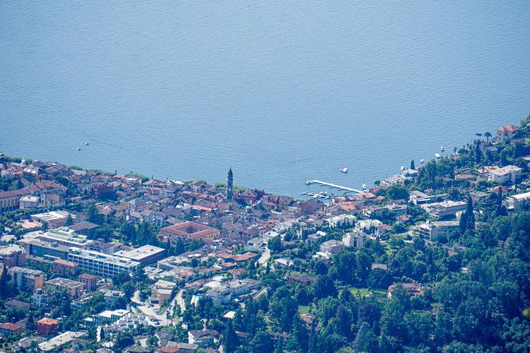 Aerial of the beautiful city of ascona, ticino, switzerland