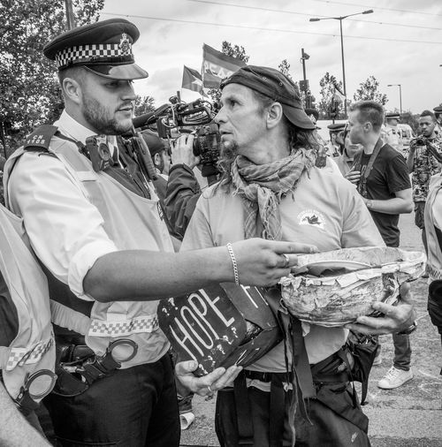 Eyeball to Eyeball Anti War Arms Docklands London London Protest Adult Conflict Day Demonstration Demonstrations  Dsei People Protesters Real People Standing Togetherness Weapons Of War