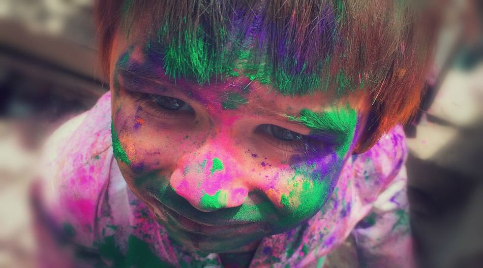 Colors Holi Festival Easter Child Emotions Expression Looking At Camera Eyes The Amazing Festival Of Holi. India