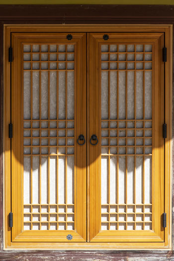 Closed door of traditional building