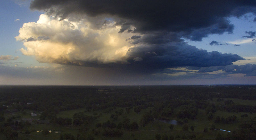 A storm cloud over Carterville, Illinois. Drone  Storm Aerial Aerial View Beauty In Nature Cloud - Sky Clouds Clouds And Sky Day Dji Field Landscape Nature No People Outdoors Scenics Sky Storm Cloud Tranquil Scene Tranquility Tree