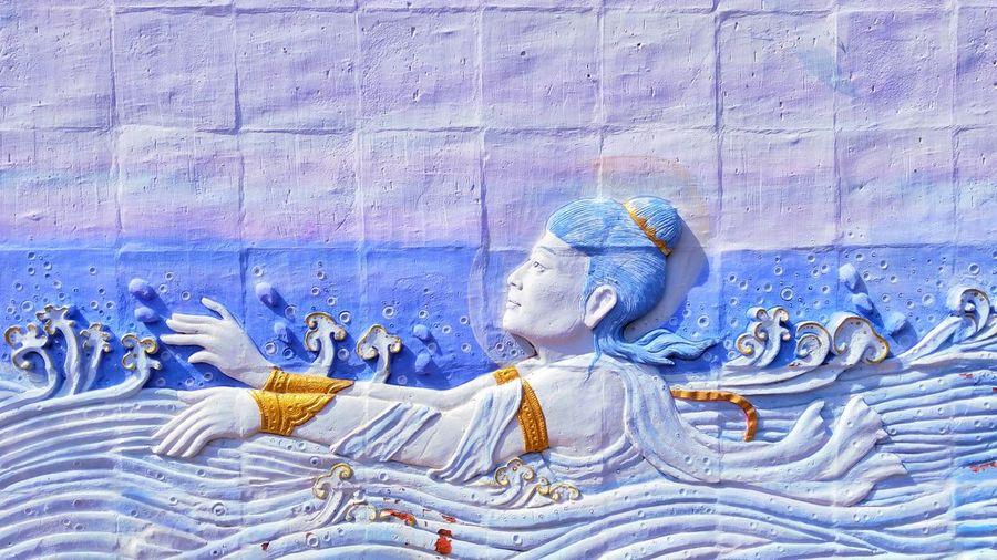 วัดนางสาว Art Art Thailand Thailand Blue Full Frame Close-up Textured