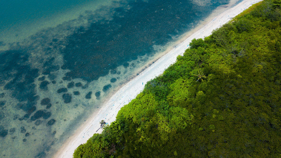 High angle view of bay on beach