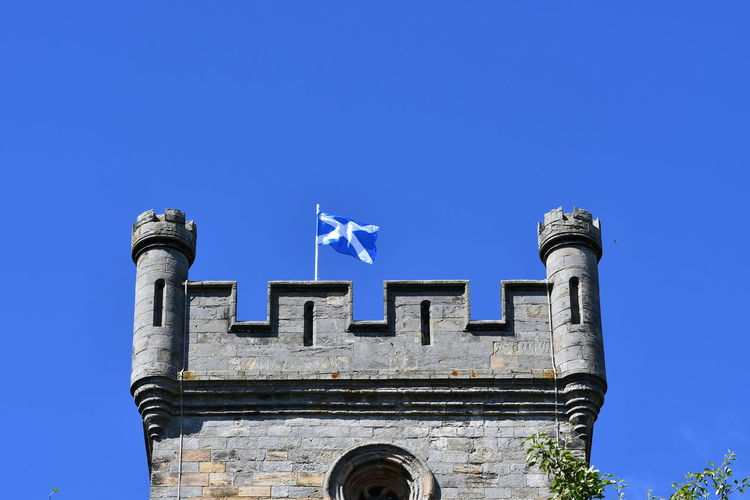 Castle Saltire Scotland Architecture Building Exterior Built Structure Flag Low Angle View Sky Tourism Tower