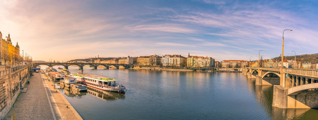 Panoramic Shot Of River In City Against Sky During Sunset