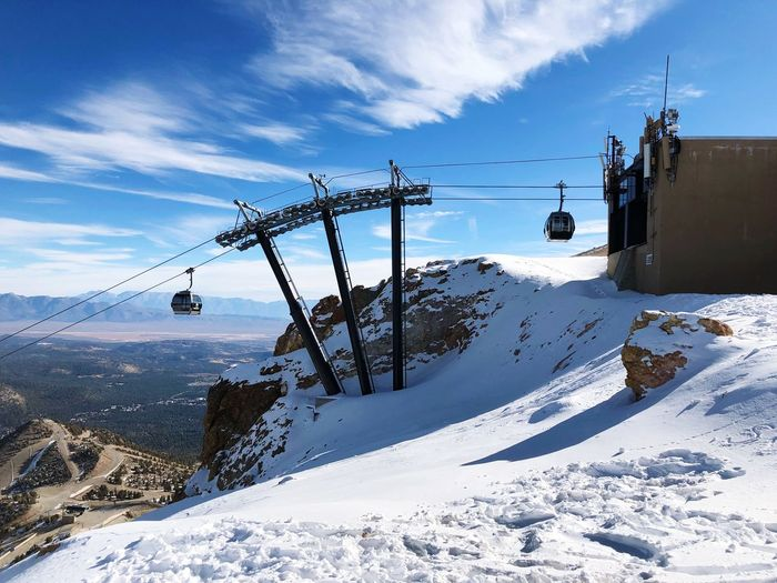 Gondola Snow Winter Cold Temperature Weather Cable Sky Nature Cloud - Sky Mountain Day Outdoors No People Ski Lift Built Structure Landscape Overhead Cable Car Beauty In Nature Architecture Mammothlakes Mammoth Lakes California Snowboard