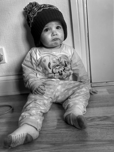 My beautiful niece Elouise, pinched my hat 😬 Childhood Innocence Sitting Indoors  Full Length One Person Day People IPhoneography ShotOnIphone Freezing Cold Cute Blackandwhite Pet Lip Sad Face Shotoniphone7