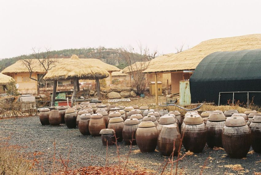 Film Nikon Architecture Arrangement Barrel Building Building Exterior Built Structure Clear Sky Container Cylinder Day Film Photography In A Row Land Landscape Large Group Of Objects Nature No People Outdoors Sky Wine Cask Wood - Material