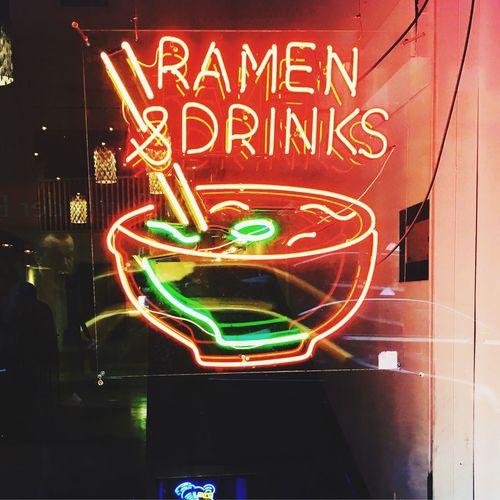 Illuminated Neon Nightlife Ramen Food