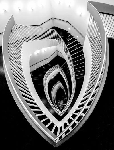 EyeEm Best Shots - Black + White EyeEm Selects EyeEm Gallery EyeEm Best Shots Steps And Staircases Staircase Spiral Railing Steps Architecture High Angle View Spiral Stairs Spiral Staircase