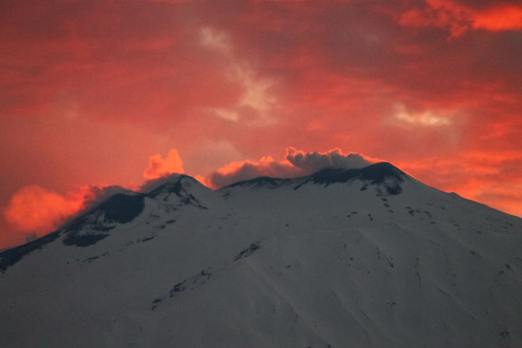 Sky Beauty In Nature Cloud - Sky Mountain Scenics - Nature Sunset Tranquil Scene Tranquility Snow Cold Temperature Winter Landscape Environment No People Idyllic Nature Non-urban Scene Snowcapped Mountain Majestic Mountain Peak Volcanic Crater