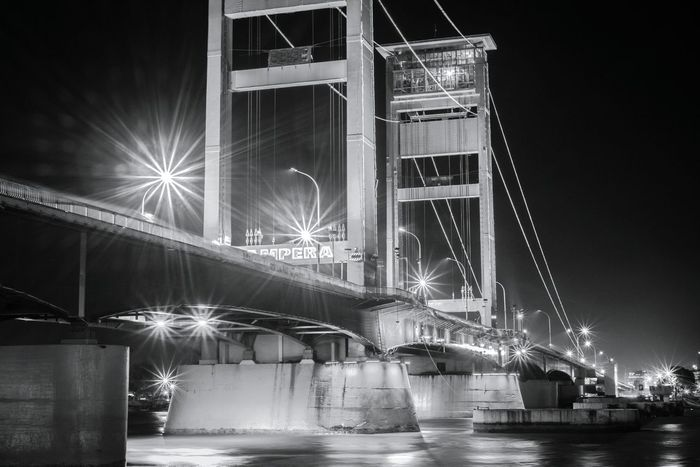 Ampera AmperaBridge Bridge River Night Night Photography Long Exposure Architecture Structure Sunstar Sunstars Blackandwhite Black And White Bnw Monochrome Palembang Palembang-Indonesia INDONESIA Landscape Landmark EyeEm Best Shots EyeEm Gallery
