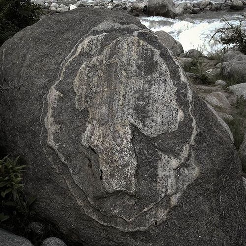While I was roaming at the banks of Beas river at Manali , I suddenly saw the stone, strangely it had a skull fave carved on it, the rock fave was about 4 feet across and appeared like that it was carved by nature itself. Rock River Nature Skull Face Scary