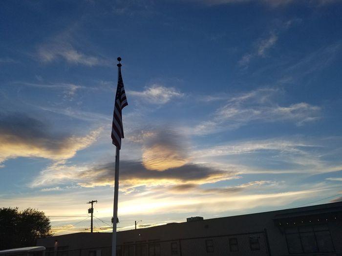 VFW American flag in Kalispell, MT against a cotten sky Blue Skies Kalispell Montana United States Flag Glory Old Glory Pride Sunset Veterans