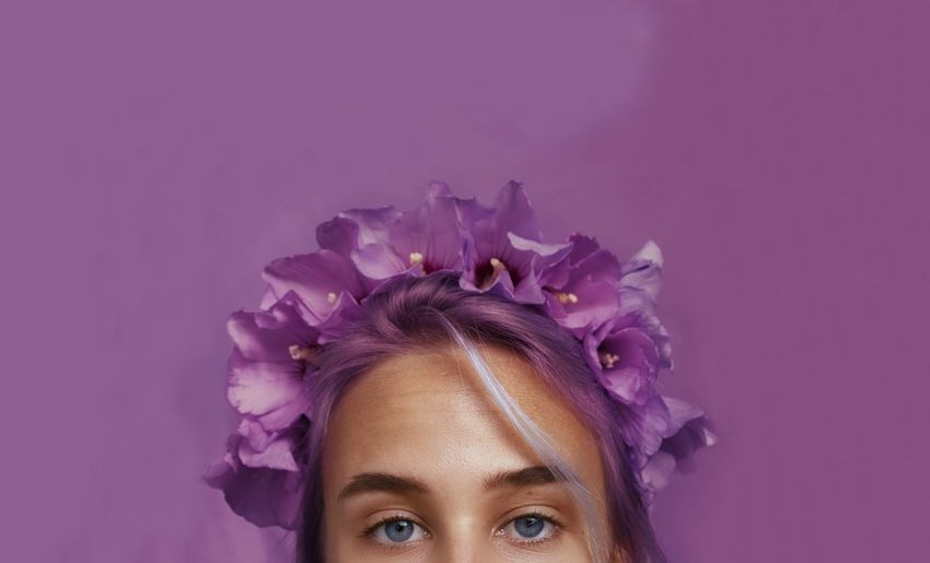 Young Women Futuristic Portrait Beautiful Woman Beauty Beautiful People Women Studio Shot Multi Colored Human Face Pink Background Purple Blooming Purple Background Pollen Fairy Flower Head Magenta Iris - Plant Osteospermum Crocus Pink Hair Passion Flower Hydrangea Passion Flower Petal Pansy Wisteria Flower In Bloom