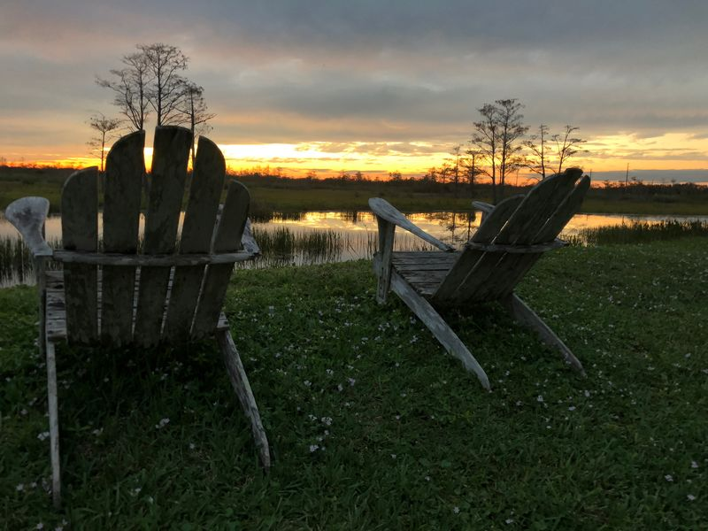 Adirondack chairs and cypress sunset Adirondack Chairs Sunset Silhouettes Swamp Beauty In Nature Chair Cloud - Sky Cypress Trees  Day Grass Landscape Nature No People Outdoors Retirement Scenics Sky Sunset Tranquil Scene Tranquility Tree