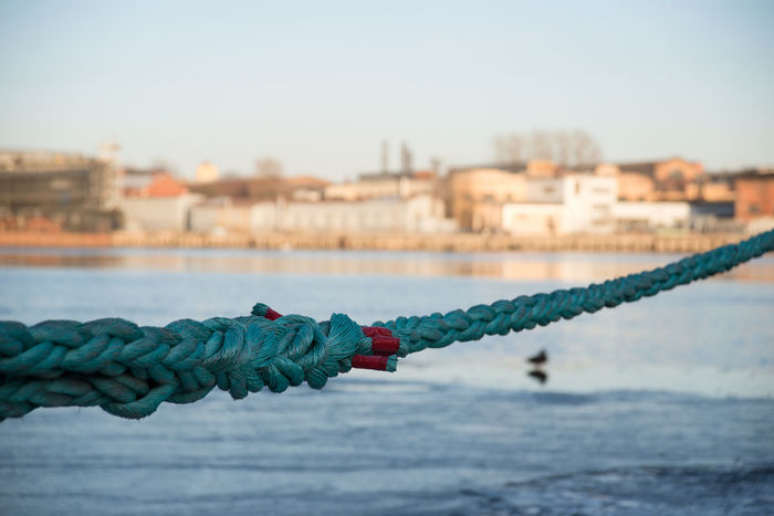 Blue Blurred Perspective City Close-up Day Early Spring Focus On Foreground No People Rope Saint Petersburg Selective Focus Sky Spring Sunny The River Neva Water