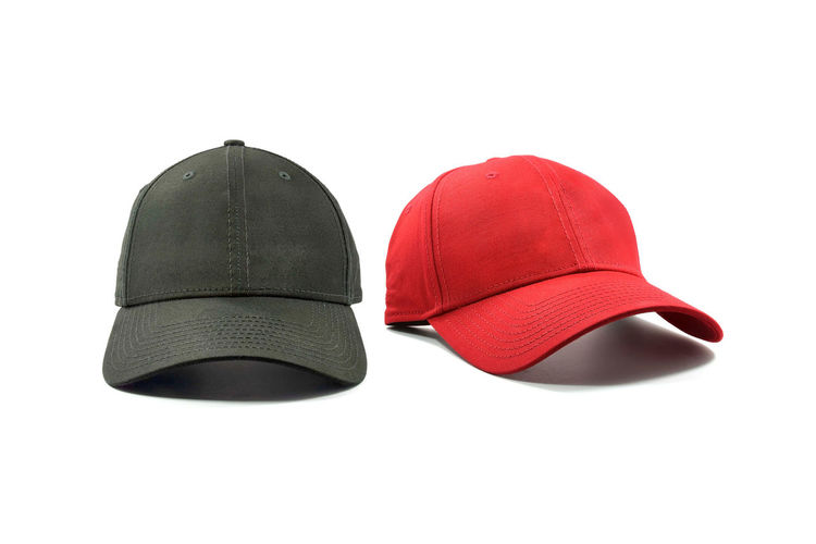 Black and red fashion and baseball cap isolated on white background. White Background Studio Shot Cut Out Indoors  Clothing Red Still Life Copy Space No People Black Color Black Close-up Textile Fashion Cap White Color Two Objects Group Of Objects Personal Accessory Baseball Sport Isolated Sun Visor Protection Headwear